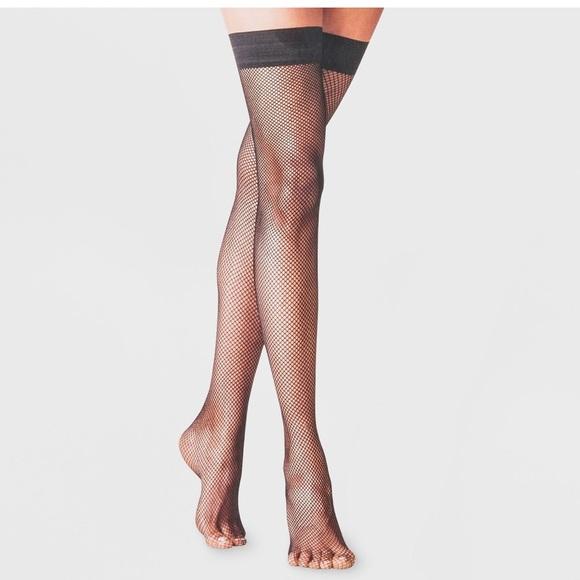 NWT Fishnet Thigh Highs - A New Day Black L/XL